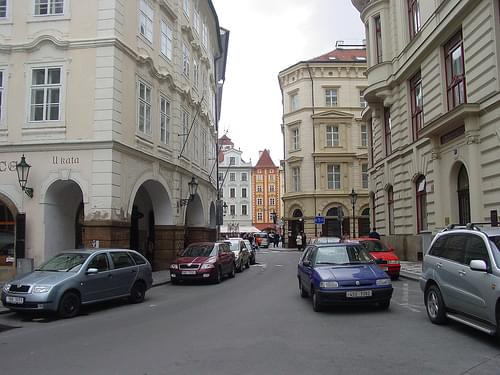 Street scene, Prague, near central square in Novo Mesto
