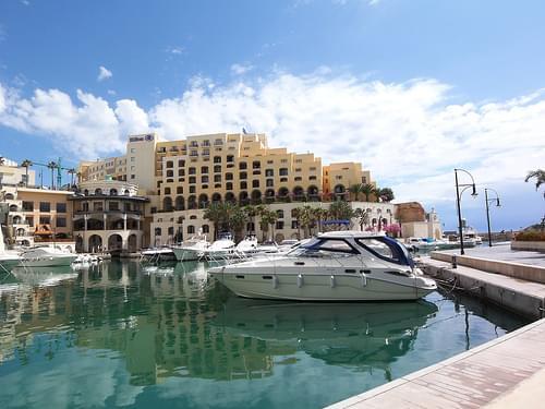marina, yachts, and Hilton
