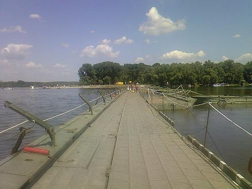 Pontoon bridge to Zemun Lido