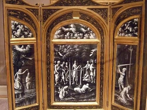 Triptych with scenes from the life of Saint John the Baptist attributed to Martin Didier Pape French Limoges 1580 Enamel on copper (1)
