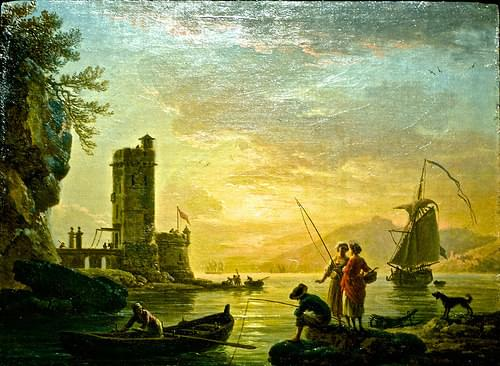 A Mediterranean Harbour at sunset (1771) - Claude-Joseph Vernet (1714-1789)
