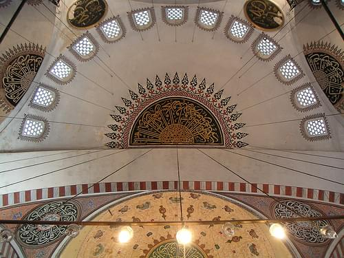The ceiling of the Süleymaniye Cami mosque