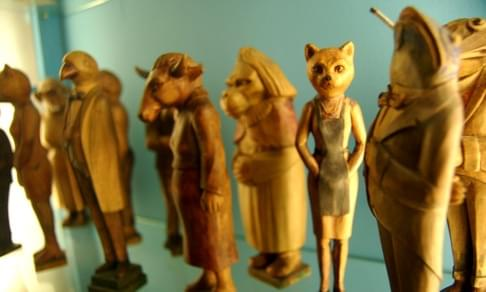 Anthropomorphic Animal Carvings (Cat Lady and Frog Man), in the Folklore section
