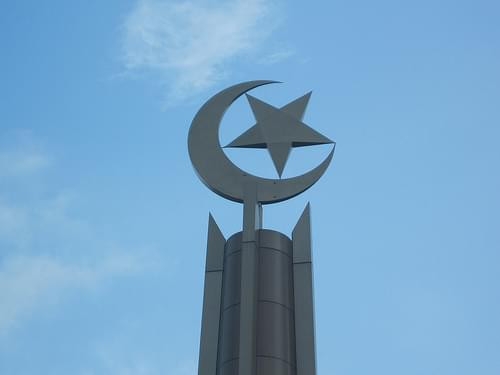 Crescent and star on mosque minaret