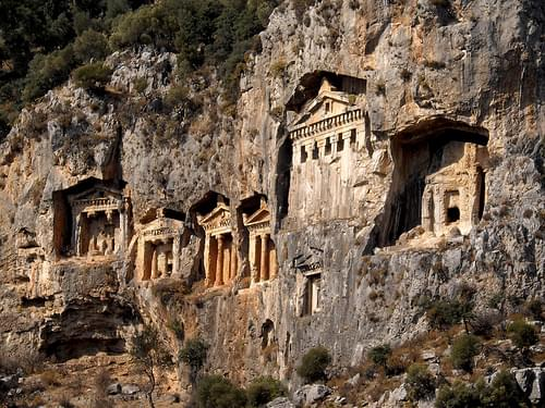 Rock-carved tombs at Kaunos