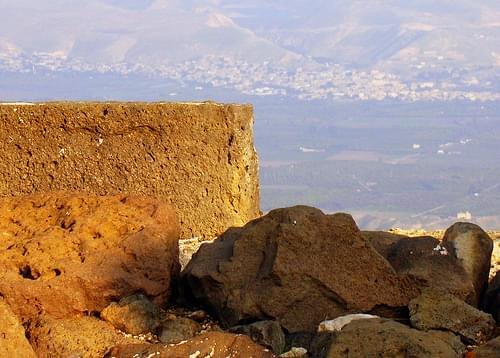 Ruins of Belvoir Overlooking the Jordan River Valley and the Mountains of Jordan