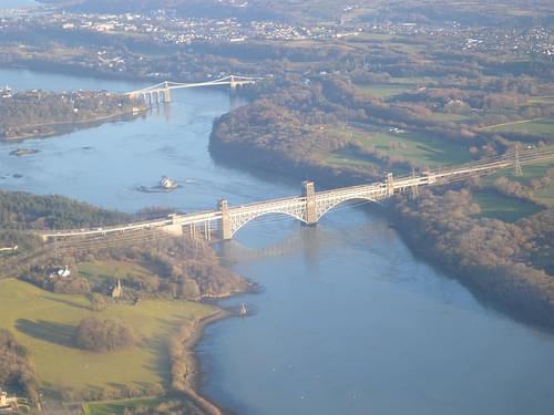 Menai bridge from Llanfairpwllgwyngyll, Anglesey