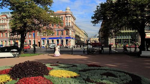 Ostrovsky Square in Petersburg Russia