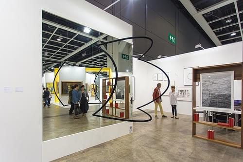 """Installation (side view) by Troika (Eva Rucki b. 1976 Germany, Conny Freyer b. 1976 Germany, Sebastien Noel, b. 1977 France): Squaring a Circle, 2013 (Mirror, steel, matte black flock)"" / Galería OMR / Art Basel Hong Kong 2013 / SML.20130523.6D.13964"