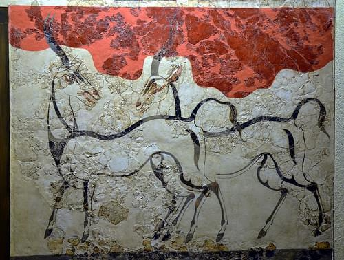 The Antelopes Fresco, from Akrotiri, Thera (Santorini), Minoan Civilization, 16th Century BC, National Archaeological Museum of Athens