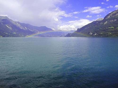 Rainbow over Lake Brienz as seen from the steamboat