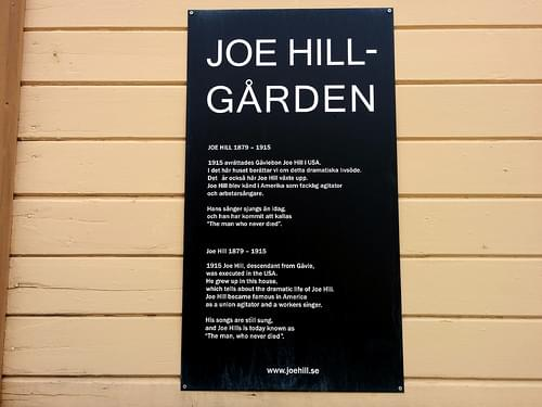 Joe Hill museum sign, Gavle, Sweden