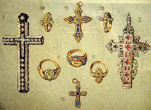 Drawing of gold jewellery