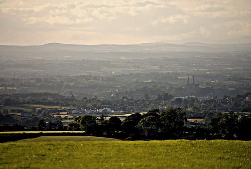 Armagh City through the haze from Vicar's Carn