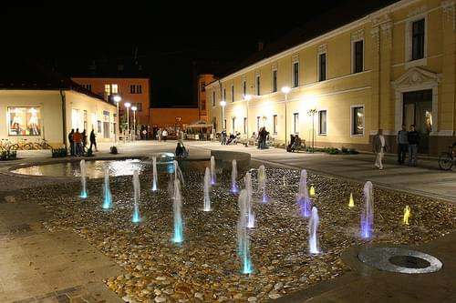 Night shot of Fountain called Story of Springs, Pedestrian zone, Piestany, Slovakia
