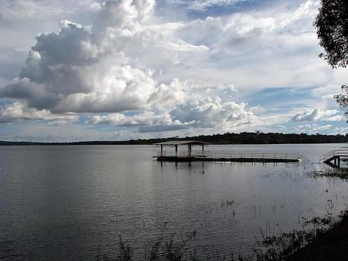 Boat jetty with clouds