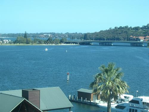 Bridge over Swan River and Island from Bell Tower in Perth