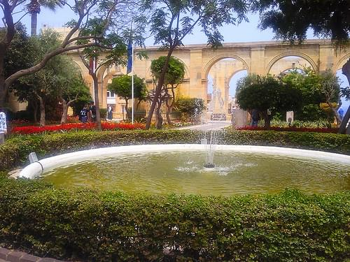 Fountain at Upper Barrakka Gardens, Valletta, Malta