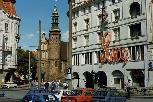 Bydgoszcz  Stary Neony SAVOY Dancing -  Klarysek Church, Plac Ziednoczenia, Poland  Aug 1990