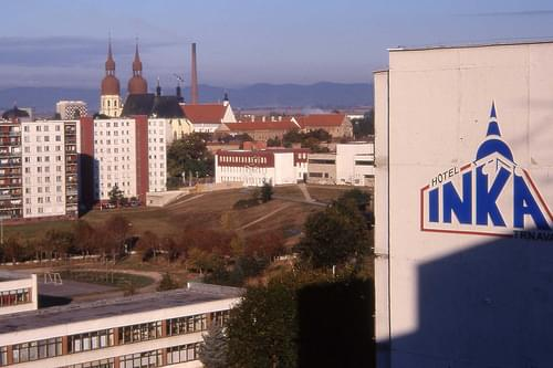 View from our accommodation, Hotel Inka, Trnava, Slovakia  Oct 1999