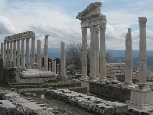 The remains of the Temple of Trajan in the Acropolis, Bergama (Pergamum), Turkey
