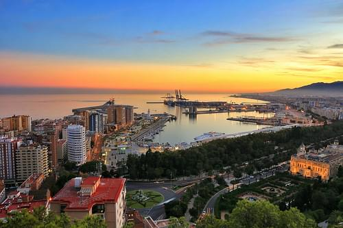 Taking a view over Malaga Harbor from Castillo de Gibralfaro