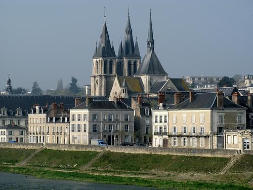 The towers of the Church of Saint Nicholas, Blois, France