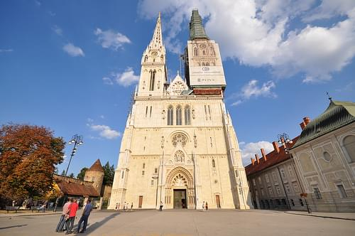 The Zagreb Cathedral being restored, the spires are 108m. high