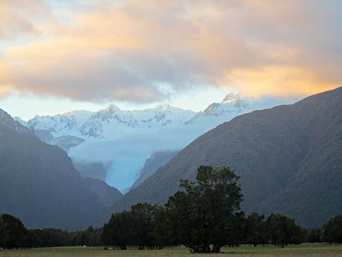 The Fox Glacier at sunset