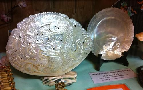 Pearl shell carving and plate at the Broome Historical Museum