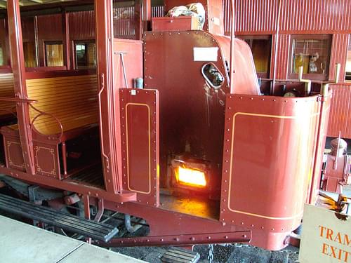 Firing up the boiler in the steam powered tram in Rockhampton central Queensland. Departs from Archer Street Railway museum on Sundays.
