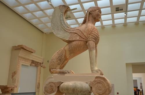 Naxian Sphinx, 570-560 BCE, Delphi Museum (3)