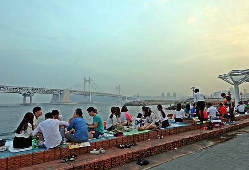 Picnics near raw fish town and the Diamond Bridge Busan Korea