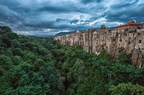 View of Sant'Agata de' Goti from Bridge, Italy