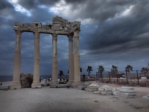 The Temple of Apollo approaching storm