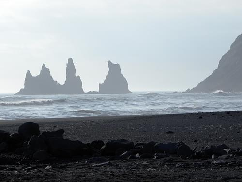 Black Sand Beach and Reynisdrangar Sea Stacks, Vik