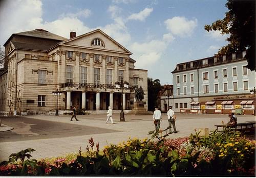 Weimar National Theatre with DDR Volkspolizisten and Konsum Kaufhaus Kontakt, Aug 1989