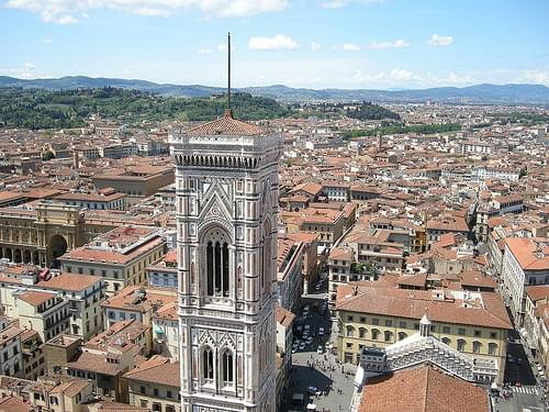 Giotto's bell tower from the top of the Florence Cathedral
