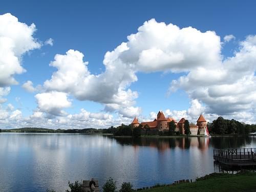 View across lake to Trakai castle