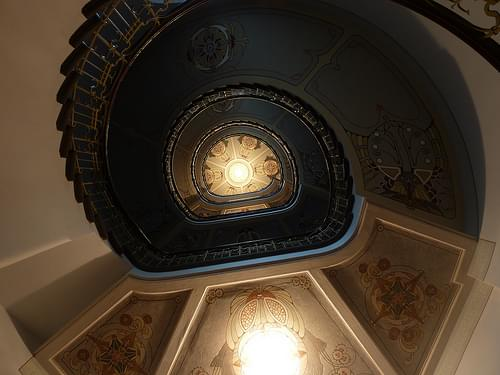 Looking up the Spiral Staircase in the Art Nouveau Museum