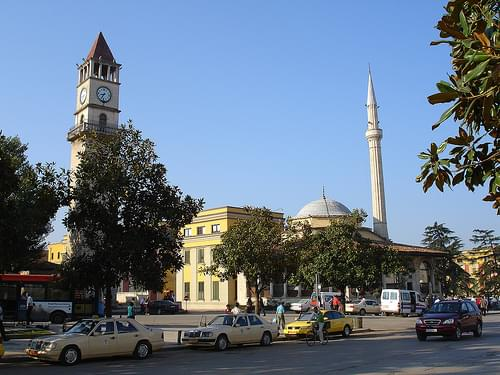 Clock tower and cantral mosque, Tirana