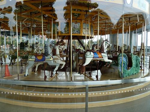carousel behind glass