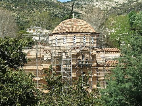 Daphni Monastery undergoing restoration