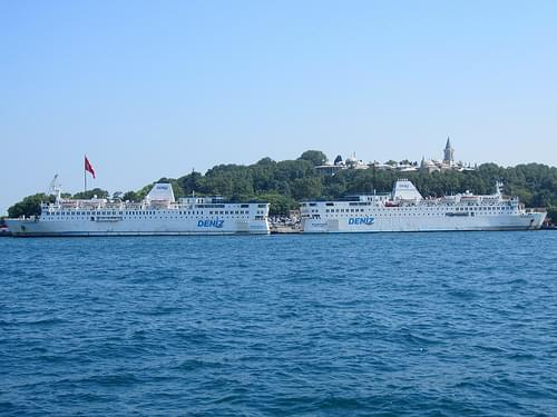 Ferries moored at Sarayburnu dock, Istanbul