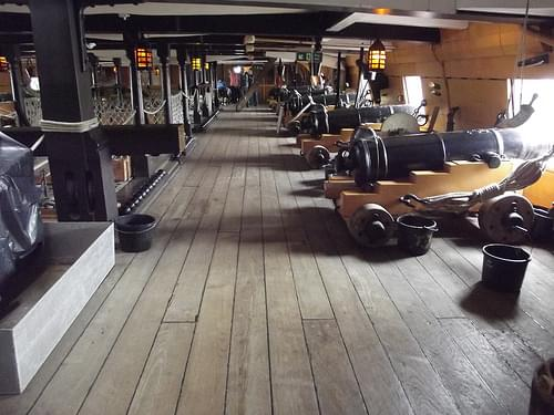 HMS Victory - Portsmouth Historic Dockyard - Upper Gun Deck - cannons