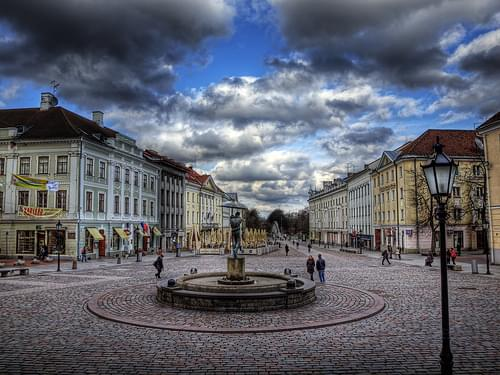 The town Square in Tartu, Estonia