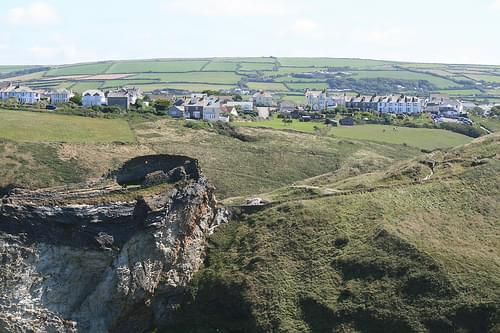 Tintagel village and lower and upper mainland courtyard - Tintagel Castle - Tintagel, Cornwall