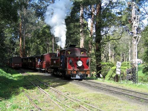 12A reversing towards Belgrave station on the Puffing Billy Railway