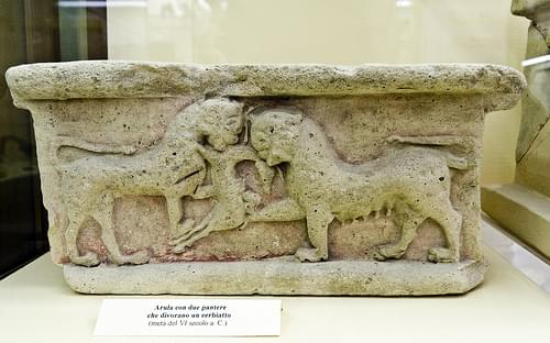 Terracotta altar with relief of two panthers devouring a fawn