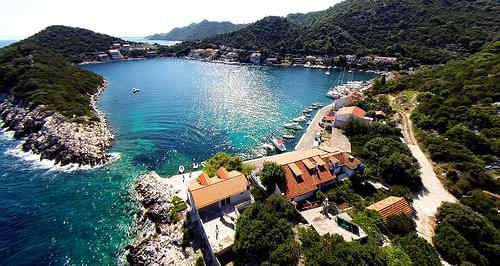 Beautiful cove with sailboats and houses on Lastovo, Croatia